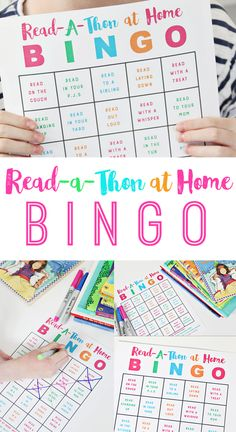 Read-A-Thon Bingo at Home to encourage summer reading! Kids will love this fun game of Reading around the house! Mom's will love seeing their kids read! reading Read-A-Thon Bingo at Home Reading Games For Kids, Reading Bingo, Bingo For Kids, Reading At Home, Summer Activities For Kids, Fun Activities For Kids, Reading Activities, Indoor Activities, Reading Programs For Kids