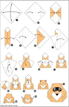 Оригами для детей - енот