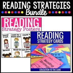 Reading Strategies: Teach reading strategies with this printable BUNDLE of our Reading Strategies Posters and Cards **Offered in black with white writing, and white with black writing.*** This resource was designed to help your emergent and early elementary students with independent and guided reading.