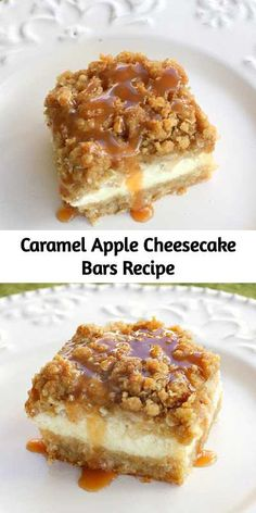 These creamy Caramel Apple Cheesecake Bars start with a shortbread crust, a thick cheesecake layer, and are topped with diced cinnamon apples and a sweet streusel topping. for parties Caramel Apple Cheesecake Bars Recipe Dessert Dips, Best Dessert Recipes, Bar Recipes, Steak Recipes, Desert Recipes, Delicious Recipes, Brownie Desserts, Just Desserts, Crack Crackers