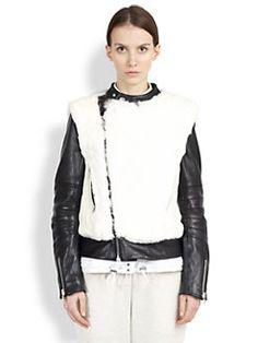 Sacai Luck - Fur & Leather Convertible Moto Jacket