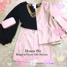 Abbigliamento primavera estate e accessori moda: camicetta, gonna giacca, collana e pochette. #DonnaPiù Firenze