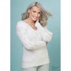 Bluse strikkekit til damer - mere end 1000 strikkekits - Dags til dag levering White V Necks, Lace, Sweaters, Tops, Women, Fashion, Moda, Fashion Styles, Racing