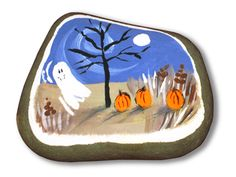 small painted rocks | Halloween Ghost - Small