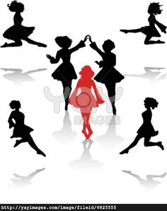 irish dancer images | Dancers silhouette of national folk dance of Ireland.