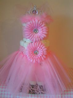 Pink TuTu Diaper Cake by LittlePeapodBoutique on Etsy, $29.99