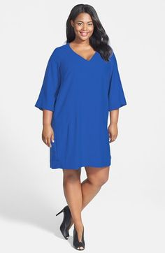 de2d853a886d2 Donna Ricco V-Neck Shift Dress (Plus Size) available at  Nordstrom Donna