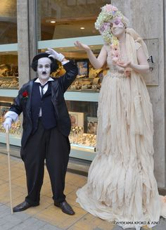 Spring living statues and Charlie Chaplin Living Statue, Charlie Chaplin, The Magicians, Victorian, Spring, Statues, Street, Dresses, Fashion