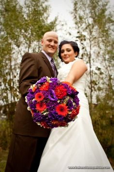 Liking this bouquet...Vintage Orange-Red Purple Bridal Bouquet of Hydrangea, Lisianthus, Carnations, Dahlias and Gerber Daisies - Imago Vita Photography - The French Bouquet