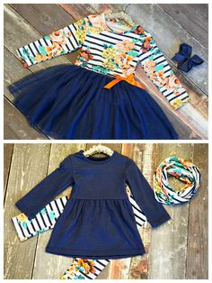 """Introducing our """"Sadie"""" collection, a beautiful fall floral/stripe print paired with classic navy for a feminine look.  Outfits start at just $12.60 this week only!"""