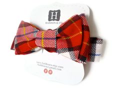 Boy's Bow Tie - Red Plaid - Adjustable Velcro Closure. Cute way to package these!