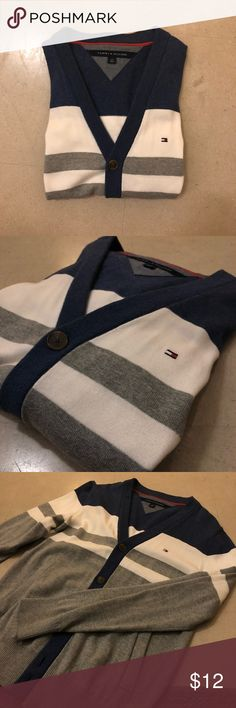 Tommy Hilfiger Men's Striped Cardigan AMAZING CONDITION! This cardigan has been barely used, the white is so crisp and the sweater as a whole is beyond classy and top of the line! Crazy comfy and looks great on ANYONE! Not in production anymore, get it while you can! Tommy Hilfiger Sweaters Cardigan
