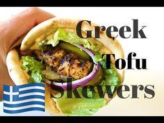 Greek Tofu Skewers - everydayveganfood.com Vegan Bbq Recipes, Vegan Dinners, Whole Food Recipes, Cooking Recipes, Greek Recipes, Dinner Recipes, Healthy Recipes, Marinated Tofu, Food Test
