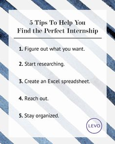 Find the perfect #internship in 5 easy steps. | #Levo #intern #search