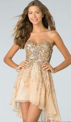 Sherri Hill Sequin Dress strapless beige nude Short Cocktail Formal prom sz 2 #SherriHill #Formal