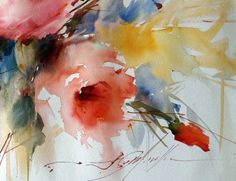 I just *LOVE loosy-goosy watercolor! painting by artist Fabio Cembranelli Abstract Flowers, Abstract Watercolor, Watercolor Flowers, Watercolor Paintings, Watercolors, Art Floral, Art Painting Gallery, Flower Art, Illustration Art