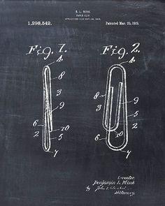 Patent Print of a Paper Clip - Patent Art - Patent Print - Patent Poster… #patentartprints #patentartwork