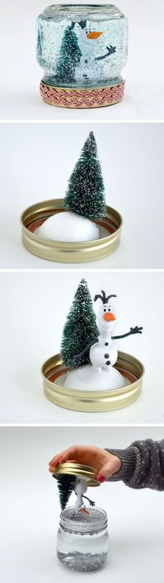 How to make a snow globe diy christmas crafts for kids to m Christmas Crafts For Kids To Make, Xmas Crafts, Diy Christmas Gifts, Simple Christmas, Christmas Projects, Kids Christmas, Diy For Kids, Christmas Decorations, Christmas Ornaments