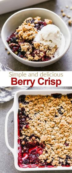 The easiest Triple Berry Crisp made with frozen berries for a juicy berry filling nestled under a crispy oat topping tastesbetterfromscratch via betrfromscratch Köstliche Desserts, Healthy Dessert Recipes, Fruit Recipes, Sweet Recipes, Delicious Desserts, Chocolate Desserts, Baking Recipes, Healthy Food, Dinner Recipes