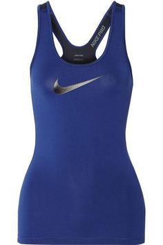 Pro two-tone stretch-jersey tank #offduty #covetme #nike