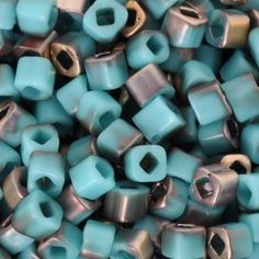 Seed Beads-4mm Cube-Y857F Frosted Turquoise Apollo-Toho-15 Grams