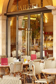 Carette, Paris, breakfast with great almond croissants