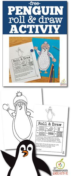 Free penguin roll and draw activity! A fun art project for an winter unit with kids in primary school! #wintercrafts #penguincrafts