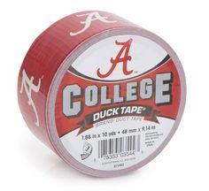 University of Alabama College Duck Tape® brand duct tape http://duckbrand.com/products/duck-tape/licensed/college-duck-tape/alabama-188-in-x-10-yd?utm_campaign=college-duck-tape-general&utm_medium=social&utm_source=pinterest.com&utm_content=college-duck-tape