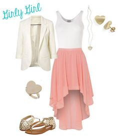 Girly Girl. For all you girls out there who love flowy fabrics, feminine accessories, and the color pink, this outfit is for you! I love the idea of wearing a high-low pink skirt with a neutral blazer because it makes it school-appropriate. Heart-shaped jewelry is the icing on the cake for this look #BFowler