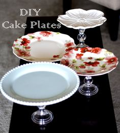 DIY Cake Plate(s) Use dollar store candlestick holders and found plates (Goodwill, Value Village, Garage Sale). Cute gift. Give one to a friend with a yummy cake on it!