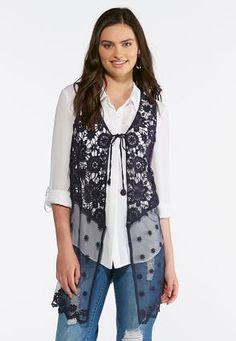 81016c56737 Cato Fashions Crochet Mesh Vest  CatoFashions Cato Fashion Plus Size