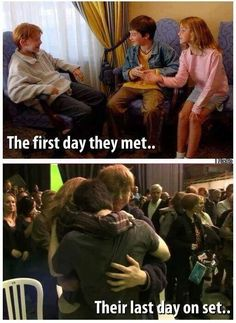 Dan, Rupert and Emma on the first day they met and on the last day of filming Harry Potter.