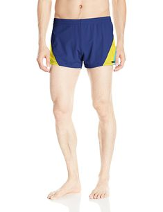 860ce89540b14 Men s European Nylon Lycra 80s Color Block Swim Trunk - Navy Yellow  Turquoise - CK12NDAASNC. Mens FashionFashion OutfitsMens Clothing ...