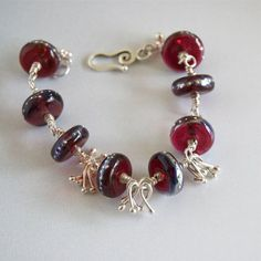 Red Lampwork Bracelet  Wire Wrapped Red Beads Handmade Red Glass Bracelet Silver Dotted Lampwork Beads Dark Red and Silver Chunky Bracelet
