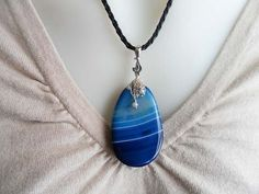 Blue Banded Agate Necklace With Jade Gemstone by DonnaJJewelry, $22.00