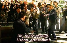 "I love how Jane relies on Lisbon to settle the fights. And all she says is ""stay there"" to the weird ninja guy."
