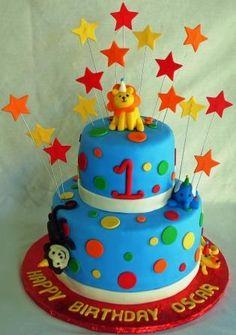 Safari Party Animals First Birthday Cake