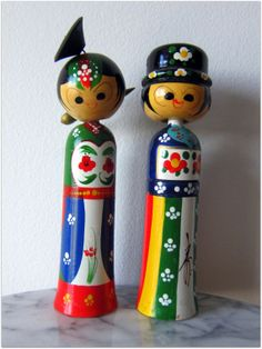 1960s Vintage Japanese Kokeshi Nodder Doll Couple, 9 Inches Tall