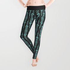 Damask Blue on Black Leggings - $39.00  #society6 #leggings #fashion #clothing #womans #damask #pattern #blue #black