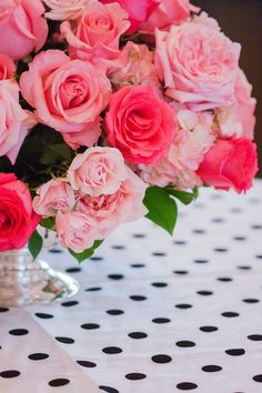 Black polka-dots with the pinks would be great for a ladies tea or a shower.