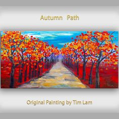 Original abstract Tree art oil painting Autumn red forest on gallery wrap canvas Ready to hang by tim Lam on Etsy, Tree Art, Art Oil, Original Paintings, Autumn, The Originals, Abstract, Canvas, Handmade Gifts, Hong Kong