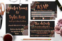 Rose Gold Wedding Invitation,copper,faux foil set by Opheliafpg on Etsy Copper Wedding, Invitation Suite, Invite, Gold Wedding Invitations, Rsvp, Reception, Rose Gold, Instagram Posts, Etsy