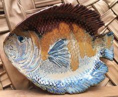 Handmade Glazed Pottery Fish Shaped Platter  | eBay