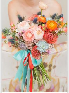 These are exactly the colors I want in my wedding. Love the combination of turquoise and burnt orange.