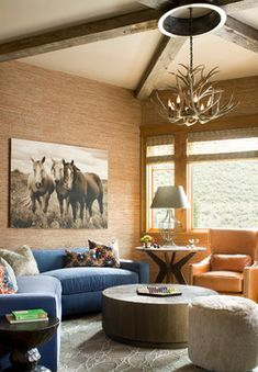 Beautiful rustic, modern equestrian living room. The perfect mountain retreat. | Stylish Western Home Decorating