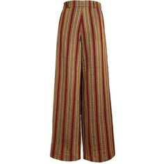 The Bee's Sneeze - Mustard with Red Velvet Stripes Palazzo Trousers ($260) ❤ liked on Polyvore featuring pants, bottoms, trousers, mustard yellow pants, palazzo trousers, brown pants, striped trousers and red pants