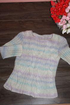 Нежный, мягкий и тёплый пуловер из мохер переплетениями из кос. Связан на заказ. Размер 42-44
