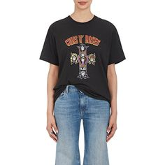 """Andersson Bell Women's \""""Guns N' Roses\"""" Cotton T-Shirt ($95) ❤ liked on Polyvore featuring tops, t-shirts, black, short sleeve tops, skull tee, ripped tee, crewneck tee and cotton t shirts"""