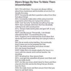 How To Make MBTI Types Uncomfortable I am an ISFJ and I think this might be true and hilarious at the same time! Isfj Personality, Personality Psychology, Myers Briggs Personality Types, Intj And Infj, Entj, Just In Case, Instagram, Introvert, Zooey Deschanel