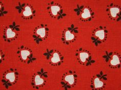 Vintage 1960s DEKOPLUS quilt fabric in highquality unused cotton with small printed white heart pattern on clear red bottomcolor